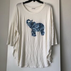 Fantastic Fawn Tops - Fantastic Fawn White/Blue 3/4 Sleeve Elephant Top